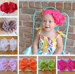 2015 Baby girl big bow hairbands lace headbands children infants bowknot headbands