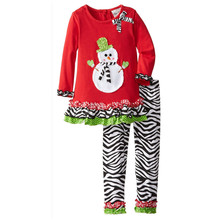 Factory Directly Supply Kids Clothes Snowman Top With Leopard Pant MOQ=1 lot Wholesale Children New Year Clothing Set