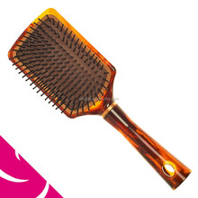 AMBER EFFECT RETANGULAR NYLON PIN PADDLE HAIR BRUSH