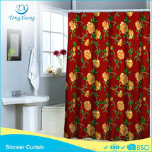 Polyester Fabric Red Background Printing Flower Shower Curtain