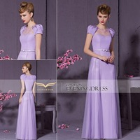 Free Shipping wholesale New Style Lilac Short Sleeve Bridesmaid Dresses Ready to ship