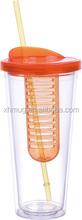 2015 Hot sale double wall fruit infusion straw mug