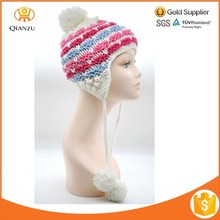 Wholesale Winter Baby teenager Knit Earlap Beanie Hat with Tassles