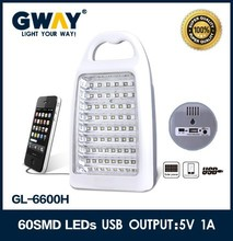 60 pcs SMD LED emergency light with USB OUTPUT:5V1A,DC solar panel charger