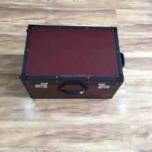aluminum flight case with leather surface and velvet lining
