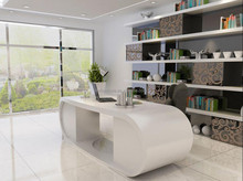 High Gloss White Modern Style Office Desk/Modern Curved Office Furniture