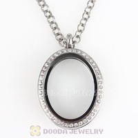 Fashion Jewelry Component Alloy Glass Locket Pendant with Clear Crystal for Floating Charms