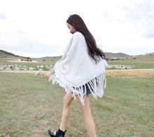 S10592A Fashionable Winter Warm Triangle Tassel Loop Yarn Woman Wrap Shawl
