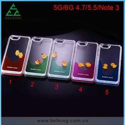 Coloful Liquid Duck Plastic Case For iPhone 6/6 Plus, For iPhone 6 Hard PC Float Case