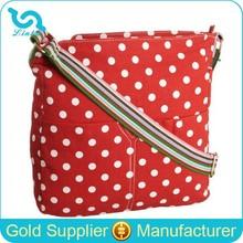 Red Polka Dot Canvas Shoulder Bag Stylish Woman Shoulder Bag Cross Body Bags Women