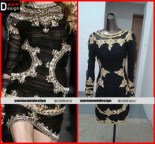 Real sample long sleeve golden crystal diamond black tulle short prom party dress
