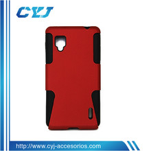 2 in 1 plastics+silicone phone case for LG E975, good price and high quality phone cases