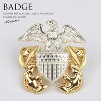 Metal pilot badges, Antique pilot lapelpins, Die Casting Zinc Alloy Wing Badge-Pin With Gold Plating soft enamel