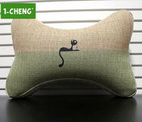 Plain Cat Pattern Bone Shape Pillow Car Seat Neck Pillow Memory Foam Car Travel Neck Support Pillow