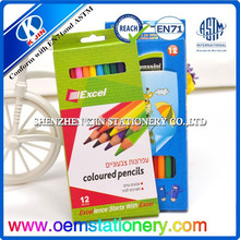 promotion 7 inch 12 color hexagonal pencil for kids school office