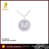 2015 fashionable jewelry 925 sterling silver alphabets pendant designs with rose zircons for gift