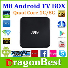 Hot Amlogic S802 Quad core android 4.4 tv box M8 support bluetooth 4.0, 4K*2K, XBMC, 1G+8G smart android 4.4 M8 payment accept