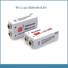soshine high capacity 650mah 9v li-polymer rechargeable battery