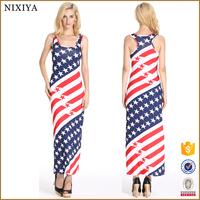 USA Print Slim and Fit Bandage Maxi Dress Casual Women Dress