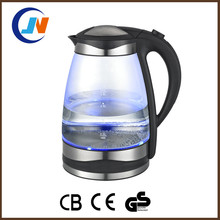 Hot sell kitchen tea pot water boiler cordless 1.7l blue led glass electric kettle