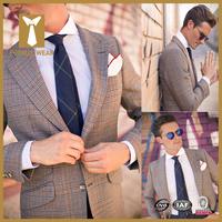 2016 New design plaid style suit men dress sample