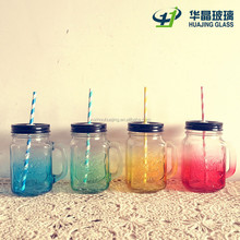 100ml- 1000ml colored glass mason jars with handle and lids