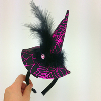 halloween witch hairbands for kids feather with diamond hair easter decoration handmade performance parts for christmas