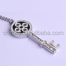 unique new design jewllery key shape usb flash drive sliver metal usb flash disk for promotional gifts