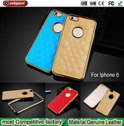 Factory Price Fashion Design Air cushion Protection Leather phone case for iphone 6 with Metal Frame
