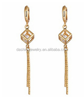 Charming Smooth Gold Plated Cubic Zirconia Unique Design Dangle Drop pictures of 20k gold earrings