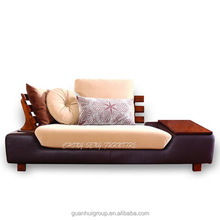 SF1002 Golden cherry colour contemporary wood sofa with single Armrest