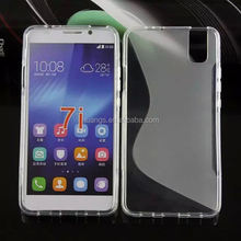 Bulk buy from china S shape clear tpu cover case cheap mobile phone cases for huawei honor 7i factory price