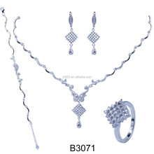 African bridal party 925 sterling silver jewelry necklace set