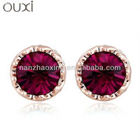 OUXI Summer fashion ear piercing studs jewelry with Austrian Crystal