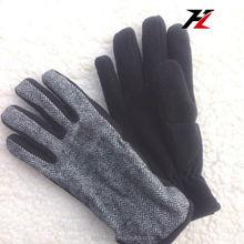 Mens/Womens Ajustable Black and White Knitted Polar Fleece Stripes, Fleece Gloves