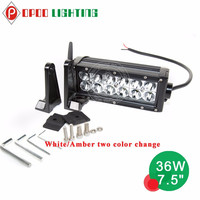 White/ Amber color changing 7.5 inch 36w 12v 4x4 automobile trucks waterproof off road led light bar