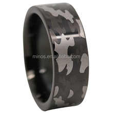 Black Camo Tungsten Mens Ring, China Factory Men Ring
