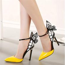 Hfr-ts119 2015 nova verão sonho asas de borboleta apontou sapatos mulheres sapatos de salto alto