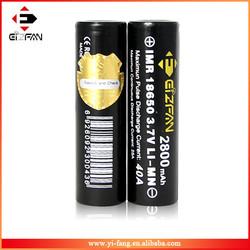 wholesale china Efan IMR 18650 battery mod battery 2800mah vaporizer battery
