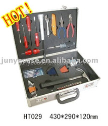 aluminum tool box with cut-out foam insert for bottom and lip