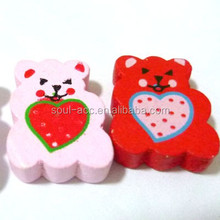 Fashion Cute Bear Shaped Animal Wooden Beads with Mixed Color