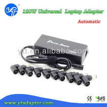High efficiency 120w universal laptop power adapter with 10 connector tips