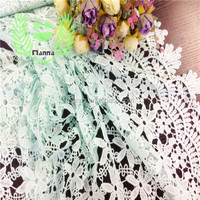 Small light blue flower embroidered tulle lace guipure fabric lace
