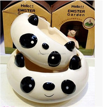 2015 popular lovely panda shape animal ceramic ashtray