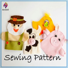 Sewing Pattern 4 Felt Hand Puppets, With Showing a Farm Animal Set