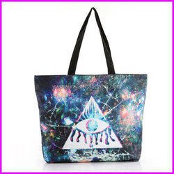 2014 new trendy digital printed ladies fashion canvas wholesale tote bags