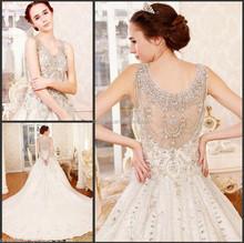 2015 Ruffled Crystal Pearl Beaded Designer Belt One Piece Elegant Bateau Or Boat Bridal MM-8862 Ball Gown Wedding Dress