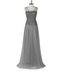 SED085 Real Latest Designs Elegant Scoop Appliques Gray Chiffon Long Evening Dress 2015