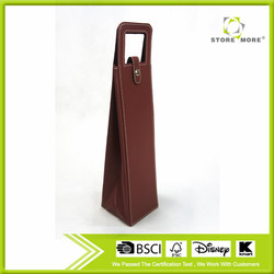 Store More Bottle Wine Red Color PU Leather Wine Bag