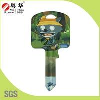 2015 customized green star hello kitty groovy color key blanks dimple computer key for door lock